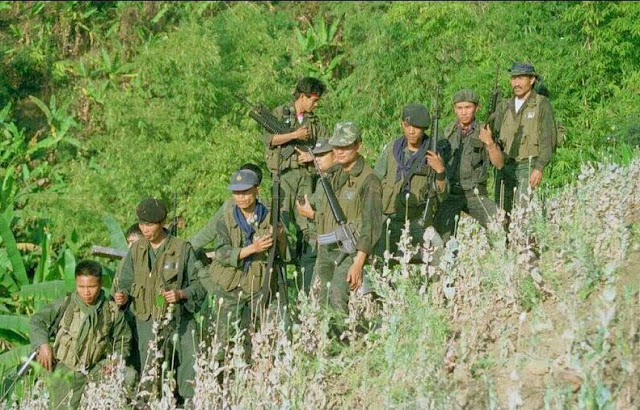 Soldiers patrolling opium fields in Myanmar