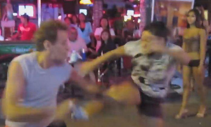 Woman does drop kick on sexpat in Pattaya