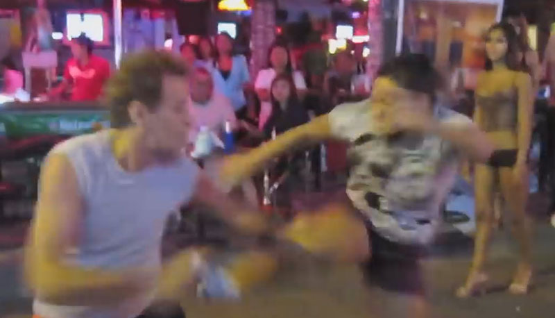 Thai woman kicks drunk expat